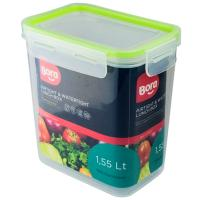 Купить контейнер герметичный прямоугольный 1.55л дхшхв 106х152х162 мм крышка на защелках полоса салатовая пластик bora 1/24 в Москве