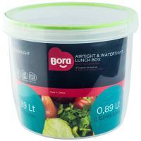 Купить контейнер круглый 0.89л н105хd122 мм полоса салатовая пластик bora 1/12 в Москве