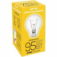 Купить лампа накаливания e27 теплый свет 95вт 220v груша прозрачная старт 1/10 в Москве