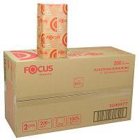 Купить полотенце бумажное листовое 2-сл 200 лист/уп*15 230х230 мм v-сложения focus premium белое hayat 1/1 в Москве