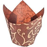 Купить капсула бумажная (тарталетка) тюльпан н80хd50 мм с золотым рисунком коричневая 1/180/1800 в Москве