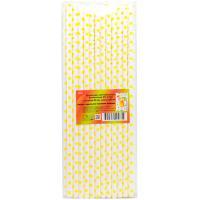 Купить соломка (трубочка) для коктейля н230хd6 мм 25 шт/уп с дизайном точки желтые бумага белая 1/40 в Москве