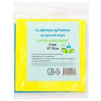 Купить салфетка губчатая целлюлозная дхш 150х150 мм 3 шт/уп super absorbent 1/90 в Москве