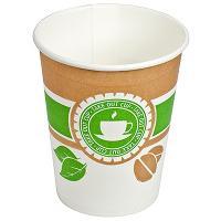 Купить стакан бумажный 250мл d80 мм 1-сл для горячих напитков чай зеленый&кофе v 1/50/1000 в Москве