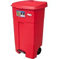 Купить бак мусорный прямоугольный 125л дхшхв 580х500х900 мм на колесах с педалью пластик красный bora 1/3 в Москве