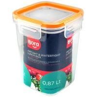 Купить контейнер герметичный квадратный 0.87л дхшхв 108х108х140 мм крышка на защелках полоса оранжевая пластик bora 1/24 в Москве