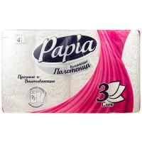 Купить полотенце бумажное 3-сл 4 рул/уп papia белое hayat 1/7 в Москве