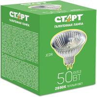 Купить лампа галогенная gu5.3 теплый свет 50w 220v старт 1/10 в Москве
