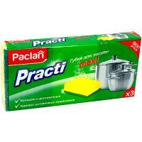 Купить губка для мытья посуды универсальная дхш 95х65 мм 3 шт/уп с зеленым абразивом maxi поролон paclan 1/40 в Москве