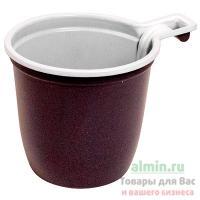 Чашка кофейная 200мл PS КОРИЧНЕВЫЙ/БЕЛЫЙ У-Ю 1/50/1000