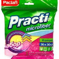 Купить салфетка микроволоконная (микрофибра) дхш 300х300 мм 4 шт/уп цвет в ассортименте paclan 1/36 в Москве