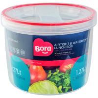 Купить контейнер круглый 1.27л н110хd140 мм полоса красная пластик bora 1/12 в Москве