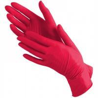Купить перчатки одноразовые нитриловые s 100 шт/уп красные 1/10 в Москве