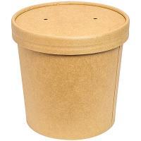 Купить контейнер бумажный 700мл н108хd118 мм для горячего, холодного c крышкой крафт 1/50/500 в Москве