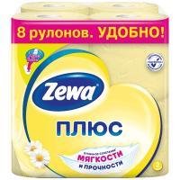 Купить бумага туалетная 2-сл 8 рул/уп zewa плюс ромашка желтая 1/12 в Москве