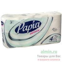 Бумага туалетная 4-сл 8 рул/уп PAPIA DELUXE БЕЛАЯ HAYAT 1/7