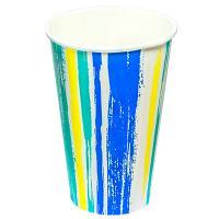 Купить стакан бумажный 400мл d90 мм 1-сл для холодных напитков полоски pps 1/50/1000 в Москве