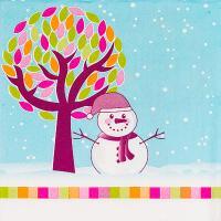 Купить салфетка бумажная 33х33 см 3 -сл 20 шт/уп снеговик под елкой papstar 1/15 в Москве
