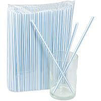 Купить соломка (трубочка) для коктейля н210хd7 мм 250 шт/уп pp белая с синей полосой 1/23 в Москве