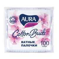 Купить палочки ватные 100 шт/уп aura в мягкой упаковке kk 1/120 в Москве
