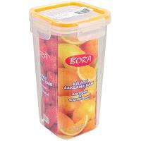 Купить контейнер герметичный квадратный 1.2л дхшхв 100х100х200 мм крышка на защелках полоса оранжевая пластик bora 1/48 в Москве