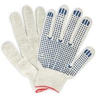 Купить перчатки рабочие 5 нитей с пвх (точка) хб белые 1/10 в Москве