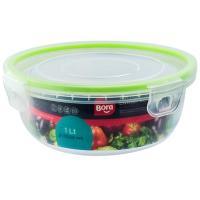 Купить контейнер герметичный круглый 1л н68хd178 мм крышка на защелках полоса салатовая пластик bora 1/12 в Москве