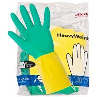 Купить перчатки хозяйственные xl особопрочные усиленные латекс зелено-желтые vileda 1/10/50 в Москве