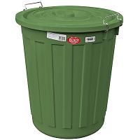 Купить бак мусорный круглый 60л н540хd460 мм с крышкой на зажимах пластик зеленый bora 1/10 в Москве