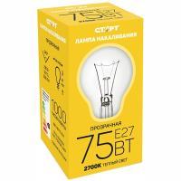 Купить лампа накаливания e27 теплый свет 75вт 220v груша прозрачная старт 1/10 в Москве