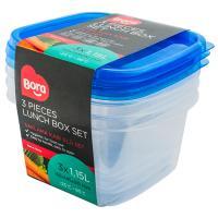 Купить контейнер прямоугольный 1.15л дхшхв 155х145х90 мм 3 шт/уп крышка синяя пластик bora 1/36 в Москве