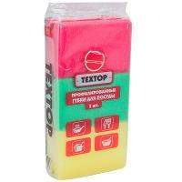Купить губка для мытья посуды профилированная дхш 95х60 мм 3 шт/уп с зеленым абразивом поролон textop 1/64 в Москве