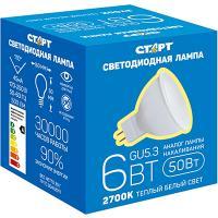 Купить лампа светодиодная gu5.3 теплый свет 6w 220v старт 1/10/200 в Москве