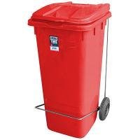Купить бак мусорный прямоугольный 120л дхшхв 600х480х960 мм уценка! (царапины внутри и снаружи) на колесах с педалью пластик красный bora 1/1 в Москве