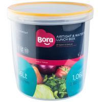 Купить контейнер круглый 1.06л н126хd122 мм полоса оранжевая пластик bora 1/12 в Москве