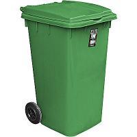 Купить бак мусорный прямоугольный 240л дхшхв 730х580х1050 мм уценка! (скол внизу) на колесах пластик зеленый bora 1/3 в Москве