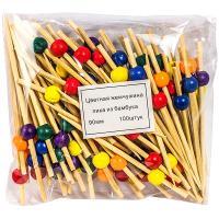 Купить пика декоративная жемчужина цветная н90 мм 100 шт/уп для канапе бамбук 1/40 в Москве