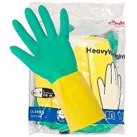 Купить перчатки хозяйственные l особопрочные латекс зелено-желтые vileda 1/10/50 в Москве