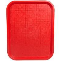 Купить поднос прямоугольный дхш 450х350мм красный пластик bora 1/12 в Москве